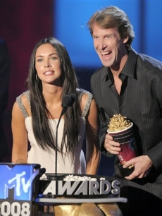 Megan Fox and director Michael Bay accept the MTV Movie award for Best Picture