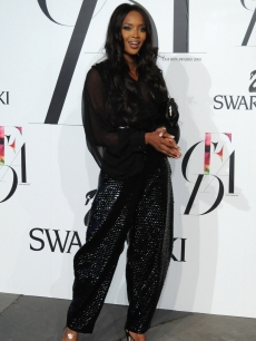 Naomi Campbell at the CFDAs in black Yves Saint Laurent