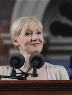 J.K. Rowling speaks to an audience during her commencement address at Harvard University