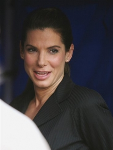 Sandra Bullock smiles during a break while shooting 'The Proposal' in NYC