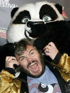 Jack Black with Po the Panda from 'Kung Fu Panda' at the Australian premiere in Sydney
