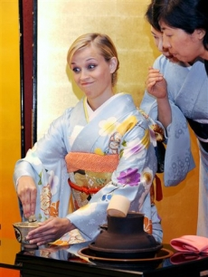 Reese Witherspoon in a traditional tea party with former breast cancer patients in Tokyo