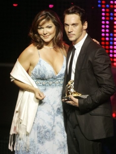 Laura Harring with Jonathan Rhys Meyers at the Golden Nymph Awards