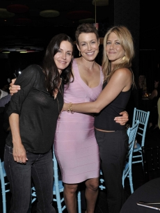 Jennifer Aniston and Courteney Cox at the OmniPeace with founder Mary Fanaro