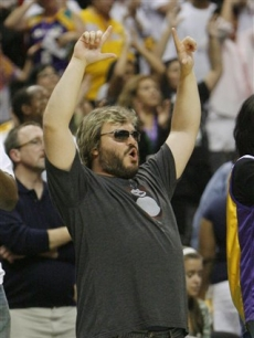 Jack Black celebrates the Sparks' victory over the Connecticut Sun in overtime