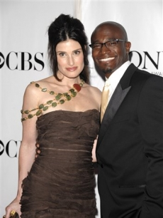 Idina Menzel and her husband Taye Diggs arrives at the 62nd Annual Tony Awards 
