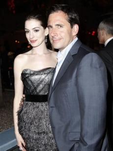 Anne Hathaway and Steve Carell at the after party for the premiere of 'Get Smart'