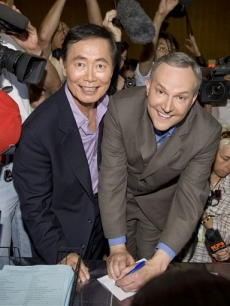 George Takei and Brad Altman are the first to get their marriage license on June 17, 2008 