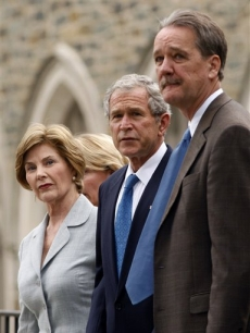 President George W. Bush and Laura Bush attend Tim Russert's wake