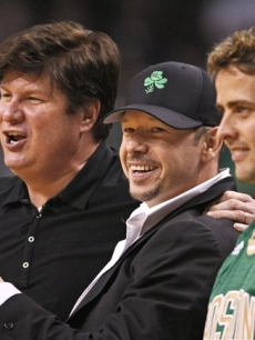 New Kids Donnie Wahlberg and Joe McIntyre at Game 6 of the NBA basketball finals