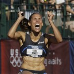 Lori Jones celebrates after winning the women's 110 meter hurdles final at the U.S. Olympic Track and Field Trials