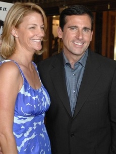 Steve Carell and Nancy Walls at a charity screening of 'Get Smart' in Boston