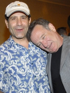 Robin Williams and Tony Shalhoub at a press conference for 'Campaign For a New G.I. Bill'