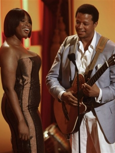 Jennifer Hudson and Terrence Howard appear on stage at the BET Awards, June 24, 2008