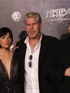 Director Guillermo del Toro with Doug Jones, Selma Blair, and Ron Perlman in Mexico City to promote their film &#8216;Hellboy&#8217;