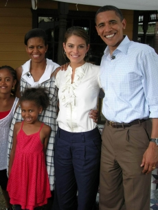 Maria Menounos with Barack Obama, wife Michelle and daughters Malia and Sasha