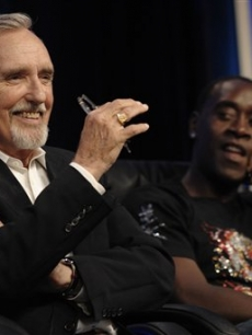 Dennis Hopper and Don Cheadle speak at a TCA panel in LA, July 11, 2008