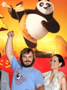 Lucy Liu and Jack Black in Tokyo for 'Kung Fu Panda'