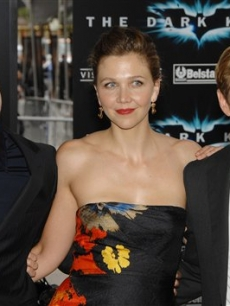 Christian Bale, Maggie Gyllenhaal and Aaron Eckhart at the premiere of 'The Dark Knight'