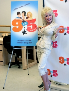 Dolly Parton at a news conference for the new musical &#8216;9 To 5&#8217; in New York