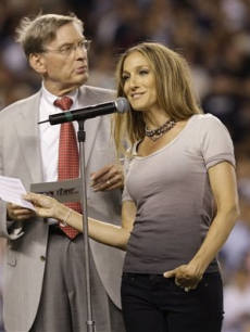 Sarah Jessica Parker and MLB commissioner Bud Selig at the All-Star Game at Yankee Stadium