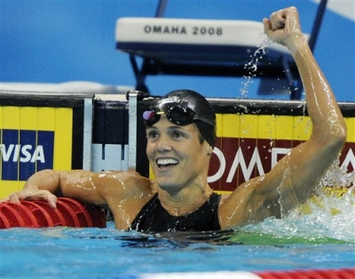 Dara Torres celebrates setting a US record time of 24.38 in the women's 50-meter freestyle semifinal at the US Olympic swimming trials
