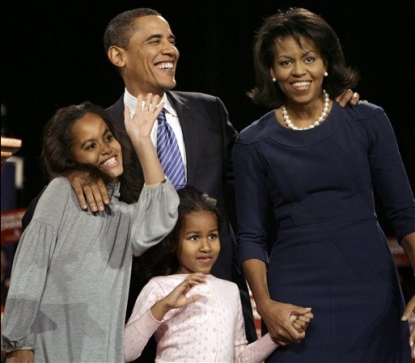Sen. Barack Obama, with his family, after winning the Iowa democratic presidential caucus