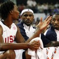 Chris Bosh, LeBron James and Kobe Bryant at a warm-up Olympic basketball game