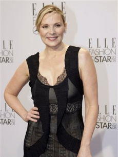 Kim Cattrall arrives for the Elle Fashion Star award ceremony during Fashion Week in Berlin