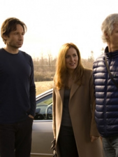 David Duchovny, Gillian Anderson and director Chris Carter on the set of 'The X-Files: I Want to Believe'