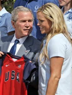 President Bush talks with Olympic softball pitcher Jennie Finch