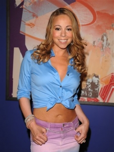 Mariah Carey poses backstage at MTV's studios in NYC, July 22, 2008