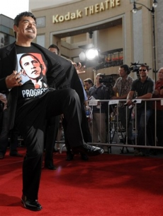 George Lopez shows off his Barack Obama T-shirt at the premiere of 'Swing Vote'