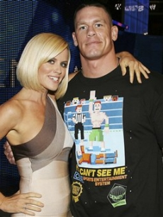 Jenny McCarthy with WWE wrestler John Cena at the WWE Smackdown Autism event