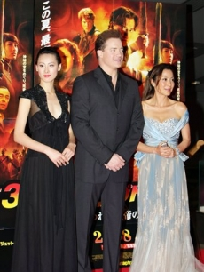 Isabella Leong, Brendan Fraser and Michelle Yeoh in Japan for 'The Mummy: Tomb of the Dragon Emperor'