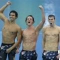 Ricky Berens, Ryan Lochte and Michael Phelps celebrate winning the gold medal in Beijing, Wednesday, Aug. 13, 2008
