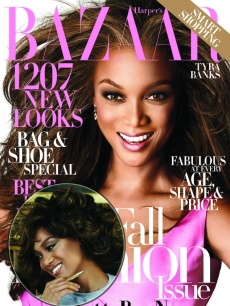 Tyra Banks on the cover of Bazaar magazine, inset — Tyra as Michelle Obama