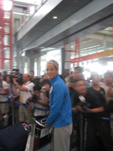 Dara Torres arrives at the Beijing airport