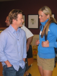 Billy shares a laugh with Jennie Finch