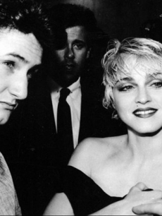 Sean Penn and Madonna chat with reporters prior to the screening of his movie 'At Close Range' in Los Angeles. (1986)
