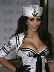 Kim Kardashian puts on her sailor suit to perform with the Las Vegas Pussycat Dolls