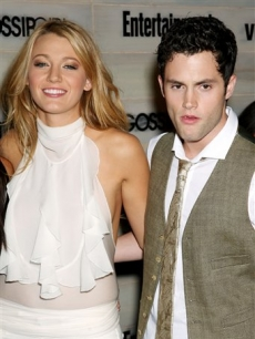 Blake Lively and Penn Badgley at the vitamin water hosted premiere party for 'Gossip Girl'