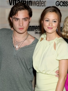 Ed Westwick and Leighton Meester attend a premiere party for the 2nd season of 'Gossip Girl'
