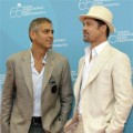 George Clooney and Brad Pitt at the Venice Film Festival for 'Burn After Reading'