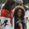 'Access' interviews Oprah Winfrey and Olympian Lisa Leslie on their way into 'Oprah' in Chicago