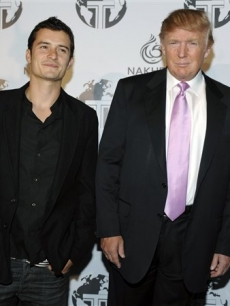 Orlando Bloom and Donald Trump at a party for The Trump International Hotel & Tower Dubai