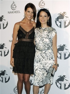 Kate Walsh and Lucy Liu at a party for The Trump International Hotel & Tower Dubai