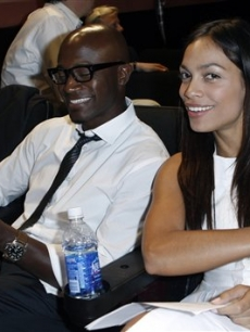 Actress Rosario Dawson, right, and actor Taye Diggs pose together before a performance of &#8220;The People Speak&#8221; at the Starz Green Room in Denver, Wednesday, Aug. 27, 2008
