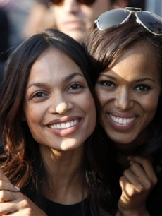 Rosario Dawson and Kerry Washington together at Invesco Field on the final day of the DNC in 2008