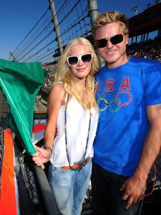 Heidi Montag and Spencer Pratt at the NASCAR Sprint Cup Series Pepsi 500 in Fontana